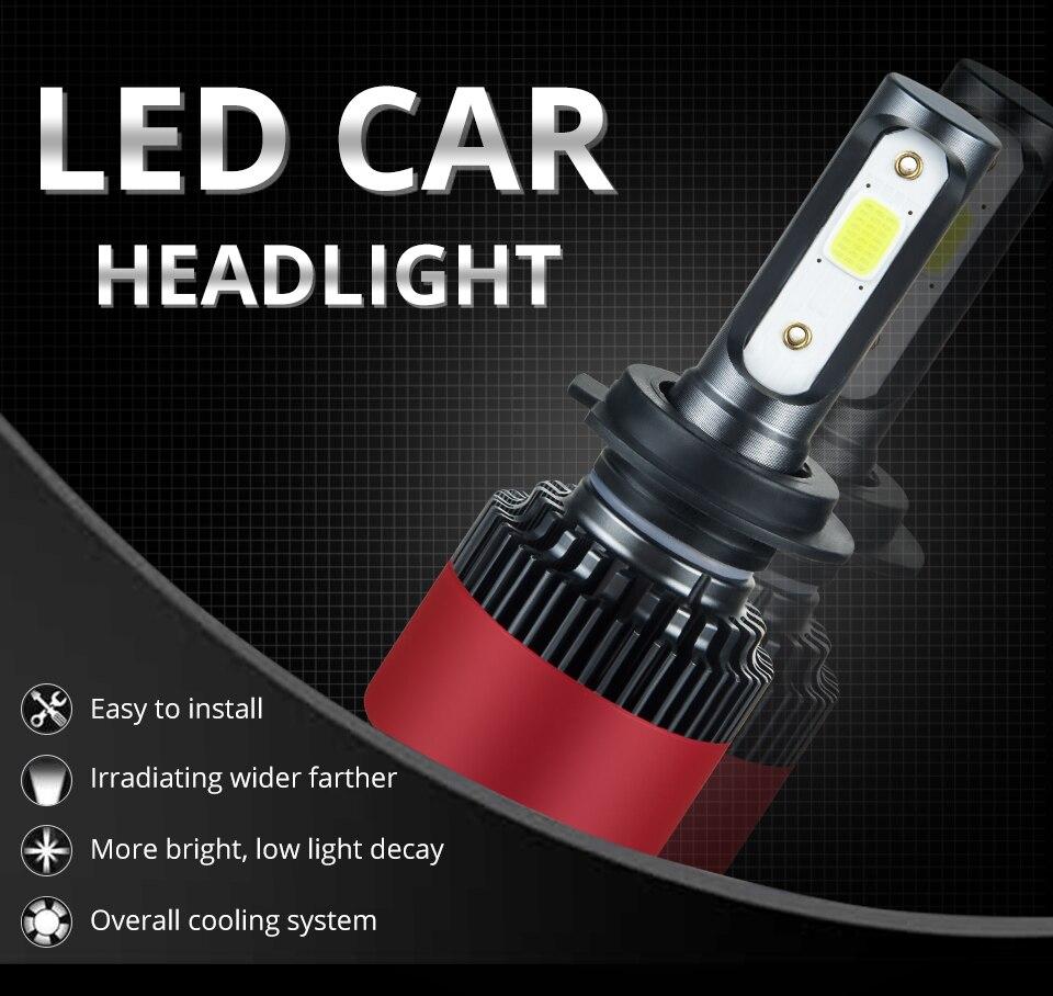 Foxcncar H7 COB Car LED Headlight Bulbs H4 Hi-Lo Beam H11 H1 H3 9005 9006  72W 10000LM 6500K Auto Headlamp Fog Light DC12v 24v (1)