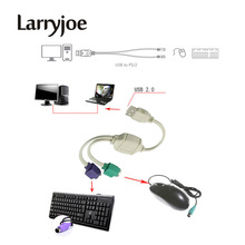 Larryjoe Hot Sale USB to PS2 PS/2 Cable Adapter Converter keyboard Mouse(China)