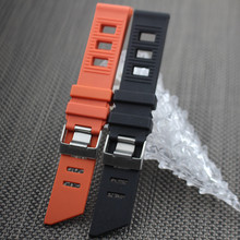 Rubber Strap for Omega Seamaster Planet Ocean color Black Orange size 20mm