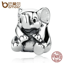BAMOER Authentic  925 Sterling Silver Lovely Lucky Elephant Pendant Baby Charms Beads & Jewelry Makings DIY Accessories PAS371