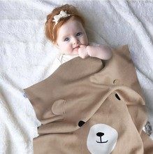 2017 Brand New Cotton Bear Chunky Blanket Newborn Swaddle Baby Bedding Baby Knitted Blanket for Bed Play Mat Dekentje Cobertor(China)