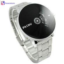2017 New Design Black Turntable Dial Men Women Watch PAIDU Luxury Stainless Steel Band Silver Quartz Wrist Watch Men's Gift