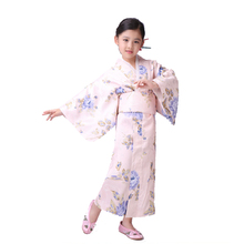 Lovely Blue Flower Japanese Baby Girl Kimono Tradition Kids Yukata Girl Stage Performance Dress Child Cosplay& Party Clothing