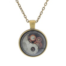 LASPERAL HOT Stylish Steampunk Long Necklace Yin Yang Design Mechanical Pendant Necklace Time Gem for Women Men 1PC(China)