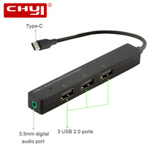 CHYI Type-C to 3 USB 2.0 Port Hub with Digital Audio Port USB-C Hub Adapter Computer Peripherals For Speakers Tablet PC MacBook(China)
