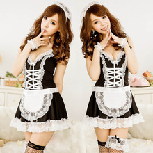 Buy 2017 Sexy Woman Lingerie Hot Lace French Maid Uniform Costume Lingerie Lolita Dress Uniform Erotic Lingerie Sexy Underwear