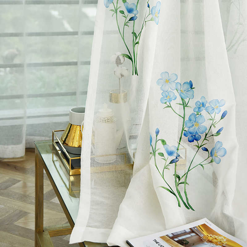 Chinese Hand-painted Curtains Tulle for Kitchen Simple Blue Flowers Sheer Window Curtian for Living Room Yarns Voile for bedroom