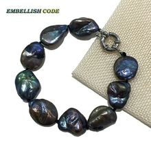 wholesales 2016 NEW bracelet large size keshi stely Melon seed shape natural fresh water pearl black blue fine jewelry