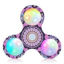 Hand Spinner Court Pattern LED Light Hand Spinner Stress Relief Manipulative Play Toy finger spinner Toys Gags & Practical Jokes(China)