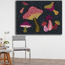 Print Oil Painting Wall painting Yayoi Kusama MUSHROOMS (OBST) Home Decorative Wall Art Picture For Living Room painting(China)
