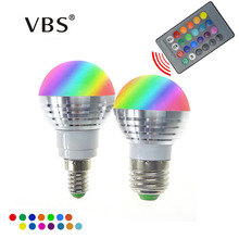 LED RGB Bulb Lamp E27 E14 AC85-265V 3W LED RGB Spot Blubs Light Magic Holiday RGB lighting+IR Remote Control 16 Colors(China)