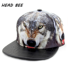 [HEAD BEE] Brand Hip Hop Hat Adult Cotton Print Wolf Animal Cool Baseball Cap Adjustable Flat Style for Men and Women