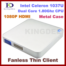 Quiet  Thin client, Mini desktop,2GB Ram&500GB HDD,metal case with Intel Celeron 1037U Dual Core, 1.8Ghz, 1080P HIMI, Windows 7