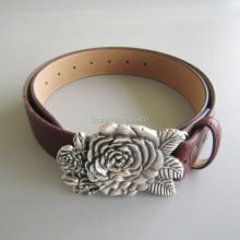 Wholesale Retail Silver Plated Sculpting Rose Flower Belt Buckle W RedPU Leather Belt Fast Delivery Free Shipping