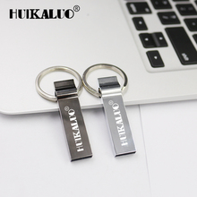100% Real Capacity USB Flash Drive 8GB 16GB 32GB 64GB silver Key USB Flash can Customized Logo memory stick with key chain(China)