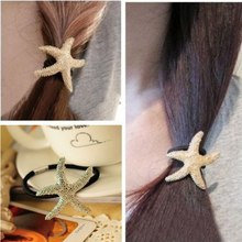 50PCS Lady Girl Silver/Gold Starfish Sea Star Fish Pony Tail Holder Band Hair Wrap/Rope Beach Wedding Party Top