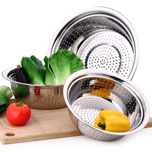 1PC Thickening Stainless Steel Leakage Basin Pot Vegetable Fruits Sieve Washing Fruit Basket Colanders Strainers Kitchen Tools