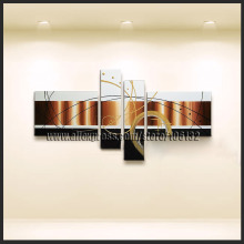 Framed 4 Panel Large Black White and Brown Painting Abstract Picture Wall Decor Interior Decoration   A0901