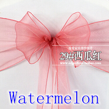 Watermelon colour Chair Sashes crystal Organza sash Wedding Party Decoration Bow sash wholesale snow organza silk sash band(China)
