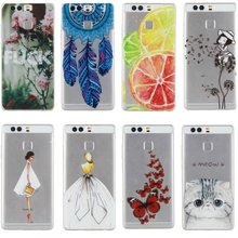 P9 Case Cover Silicon Fashion Girl Cat Rose Lemon Butterfly Rubber Mobile Phone Bag Coque Capinha For Huawei P9 Etui Back Gel
