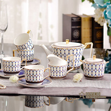 Porcelain coffee set bone china blue round design outline in gold 11pcs/12pcs European tea set coffee pot jug cup saucer ashtray