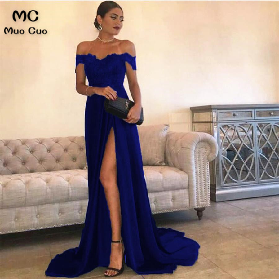 Sexy Leg Slit Long Satin Sweetheart Prom Dresses Lace Off The Shoulder Evening Gowns