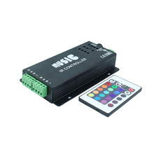 144w 2 Ports Output Sound Activated RGB Music Controller for Color Changing LED Strips with Remote Control 144w, 5050 RGB