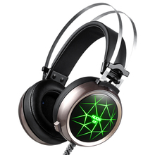Super Light Gaming Headset Heavy Bass Light Comfortable Computer LED Luminous Headphone with 3.5 mm Earphone Microphones
