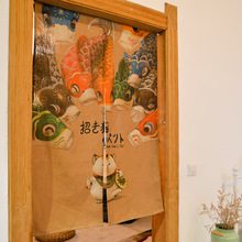 Creative Japan Style Cotton Linen Door Curtain Cartoon Lucky Cat and Carp Prints Home Decor Bedroom/Kitchen Partition/Divider