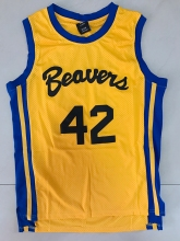 HOWARD #42 BASKETBALL JERSEY BEAVERS TEEN WOLF MOVIE MICHAEL J FOX SHIRT YELLOW ALL STITCHED(China)