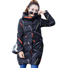 Fashion Winter Jacket Women 2017 Girls Print Medium-long Loose Warm Parkas Female Down Cotton Bread Coat Feminina Inverno CM1716(China)