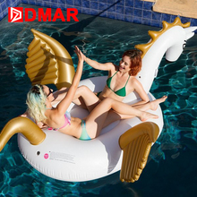 DMAR Inflatable Pegasus Unicorn Gaint Pool Float 250CM Mattress Sunbathe Mat Air Swimming Ring Circle Beach Sea Water Party Toys