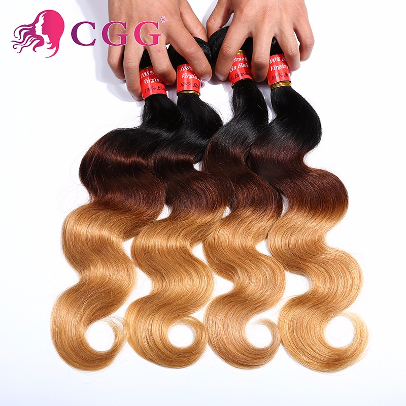 Ombre Peruvian Virgin Hair Body Wave 4 Bundles Ombre 3 Tone Hair Weave Ombre Human Hair Bundle 12-28 T1b/4/27 Peruvian Body Wave<br><br>Aliexpress