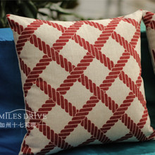 Red Geometric plaid Pillow Cover Cotton Linen Deer Throw Pillow Covers Red Pillow Covers(China)