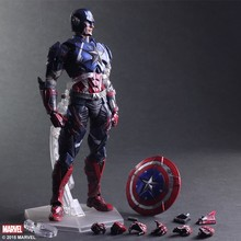 2017 New Marvel Hot Movie PLAY ARTS PA The American Captain PVC Action Figure Statue Doll Toy 27cm Model toys Hot Sale(China)
