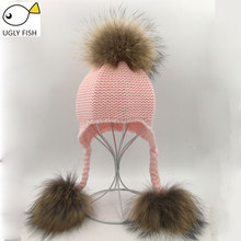 Winter hats for children winter hats for girls kids knitted hat girl pom pom hat kids girls children(China)