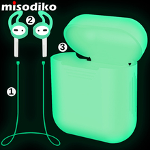 misodiko Pack of 3 Accessories for Apple AirPods, Silicone Protective Pouch Case& Anti Lost Strap& Ear Cover Hooks, Night Glow(China)