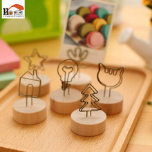 1 pcs CUSHAWFAMILY Vintage wooden desktop figurines, message note clip pictures photo holder Home decor Arts crafts gift(China)