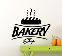 Bakery Shop Logo Vinyl Wall Sticker High Quality Bread Kitchen Wall Decal Cafe Shop Symbol Interior Removable Decor Art DIY SY47(China)