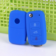silicone car key cover case shell VW golf jetta for Skoda Yeti Superb Rapid Octavia for SEAT leon ibiza 3 button keyless remote(China)
