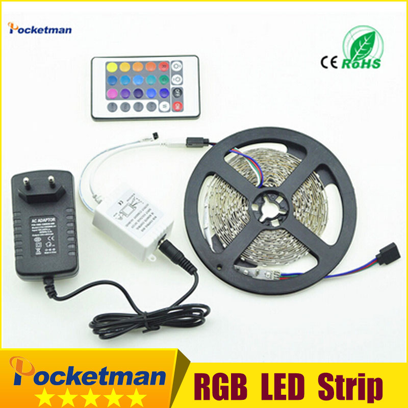 Hot! Good Quality Wholesale LED Strip 5M 300Led 3528 SMD 24Key IR Remote Controller with 12V 2A Power Adapter Free shipping(China (Mainland))