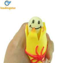 LeadingStar Novelty Squeeze Banana Toy Pop Out Banana Doll with Key Chain Slow Rising Stress Relief Toys Prank Joke Toy Gift