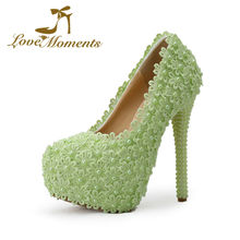 Love Moments sweet wedding shoes green flowers pearl beading bridal high heels wedding dress party shoes for  ladies shoes