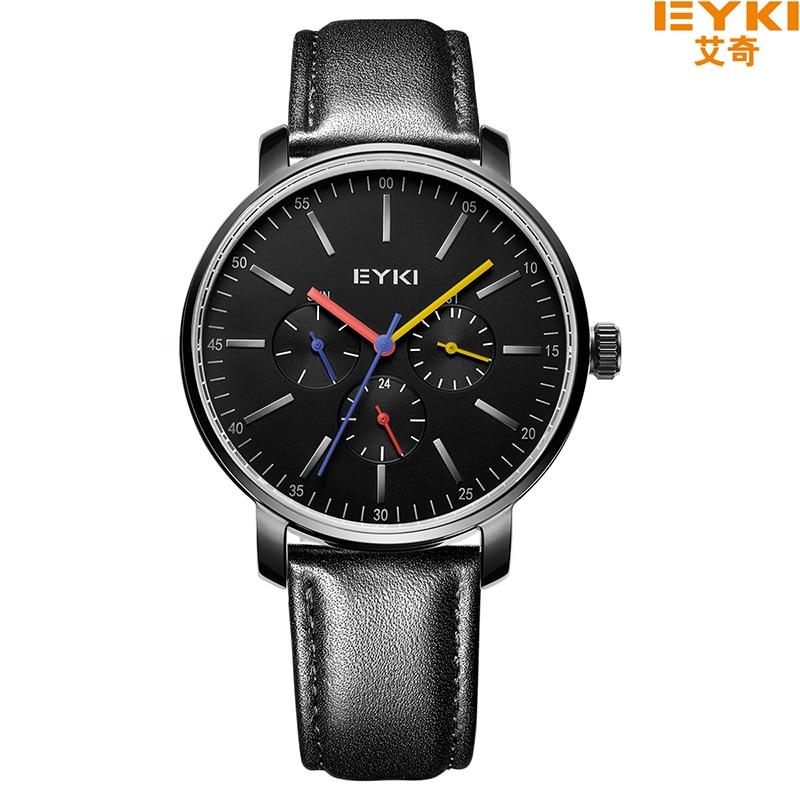 EYKI Brand Men Watches Luxury Casual Quartz Sports Wristwatch Genuine Leather Strap Calendar 3 Sub Dial Watch relogio masculino<br>
