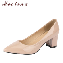 Buy Meotina Women Pumps High Heels Office Lay Shoes Pointed Toe Block Heel Female Career Shoes 2018 Shoes New Fashion Big Size 34-43 for $20.98 in AliExpress store