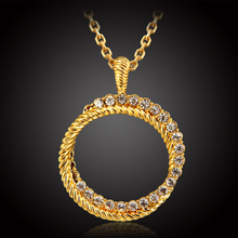 gold color jewelry channel necklace for women men girls fashion simple design rhinestone crystal chain pendant necklaces collar