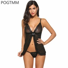 Plus Size Underwear Lingerie Sexy Hot Erotic Sleepwear Babydoll Women Open Front Lace Sex Night Sleep Wear Nightwear Costumes L3