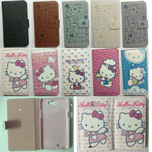 Cute cartoon Hello Kitty Flip PU Leather Housing For Samsung Galaxy NoteII Cases N7100 Note 2 Note2 Covers Holster Phone Shell