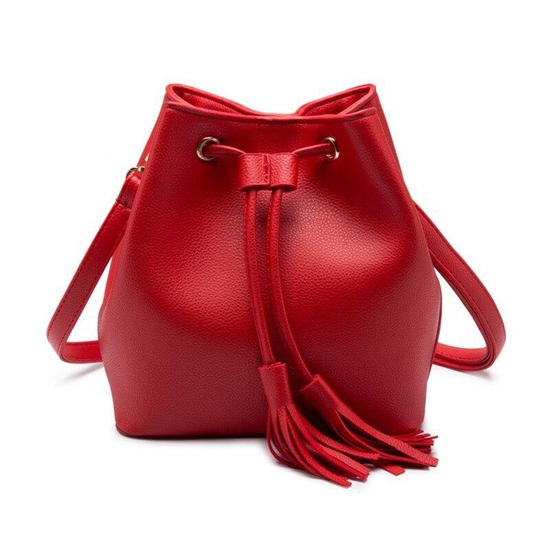 Fashion tassel crossbody bags designer high quality women pu leather messenger shoulder bags Mini Bucket drawstring bags lady<br><br>Aliexpress
