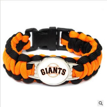 MLB San Francisco giants baseball Team Paracord Survival Bracelet Friendship Outdoor Camping Sports Parachute Rope 10pcs/lot